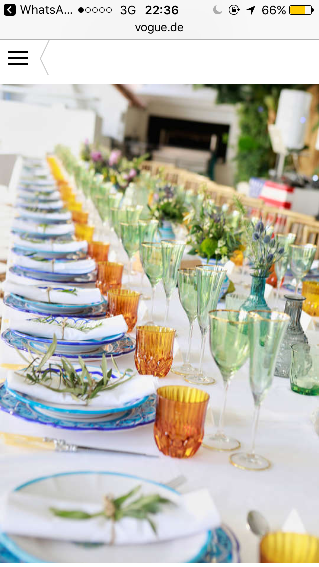 Anna and Charles - wedding table colorful glasses and decorations - featured on vogue