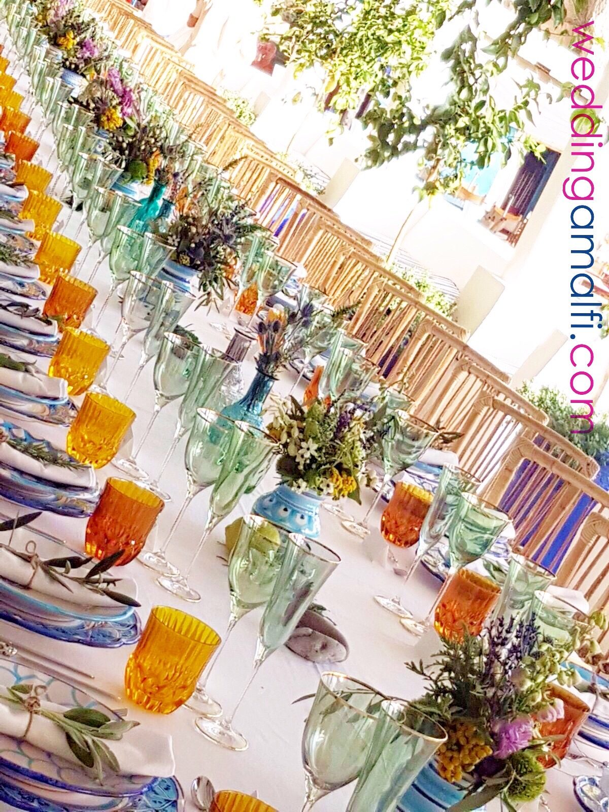 Anna and Charles - wedding tables colorful decorations