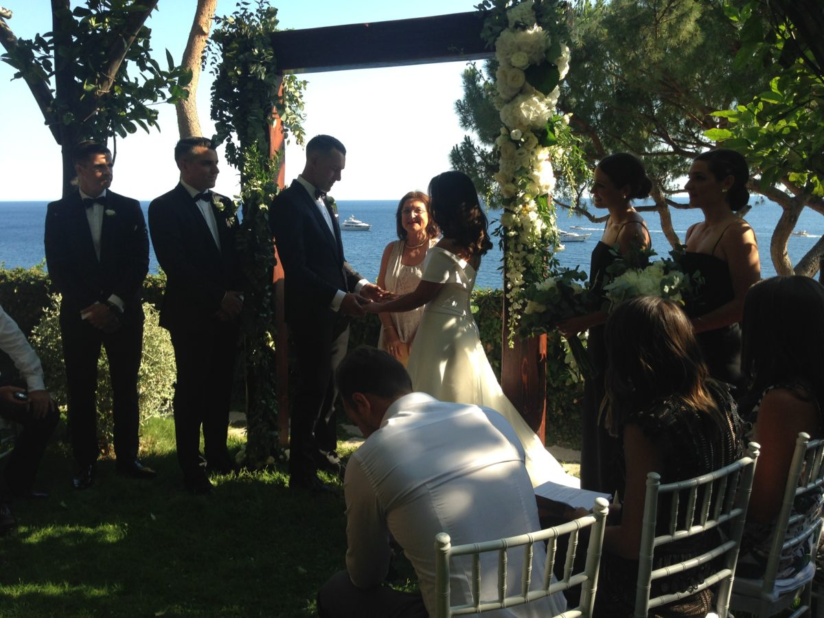 Laura and Jarrod al fresco wedding ceremony