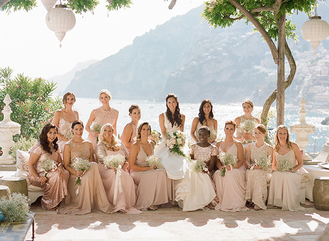 Bridesmaids in Blush Gowns Positano, Italy
