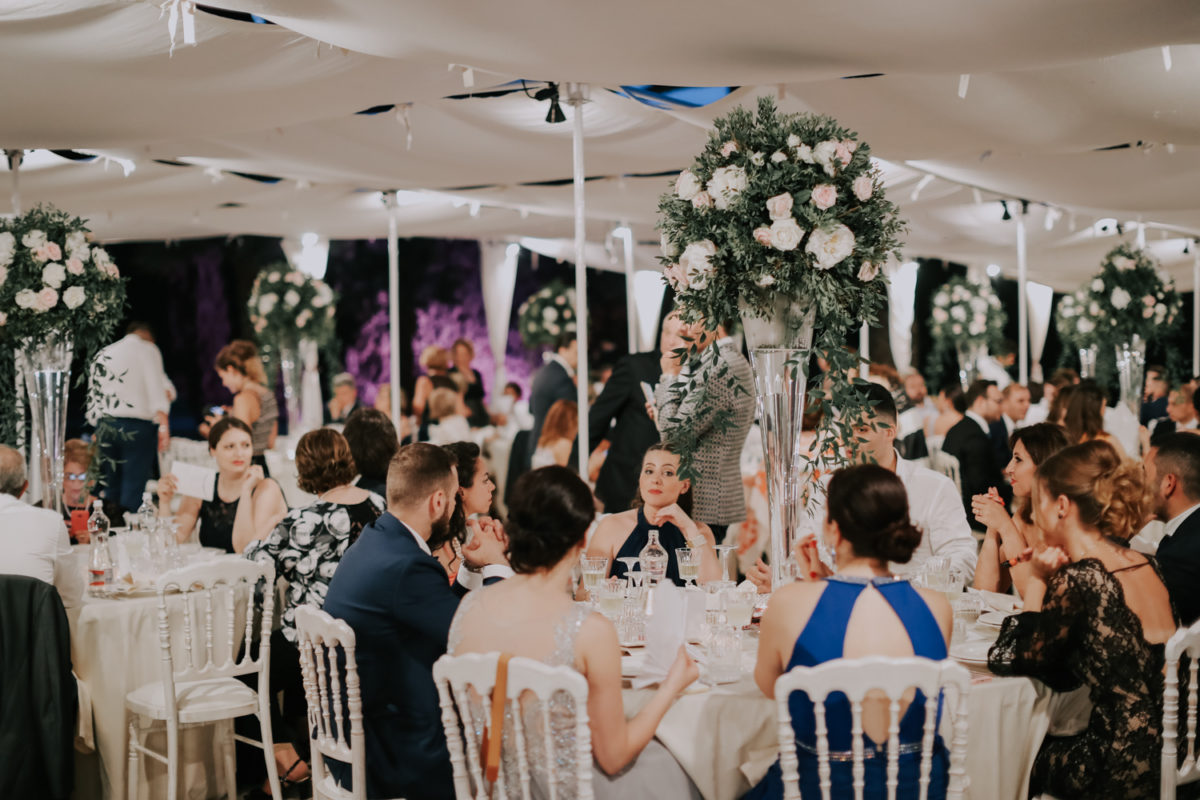Alessandro and Diego - wedding table decorations and happy guests