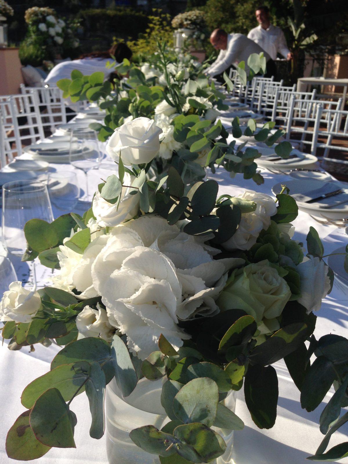 Laura and Jarrod fresh flowers wedding table decorations