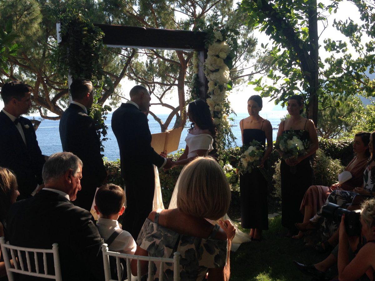Laura and Jarrod seaside wedding ceremony